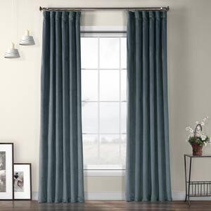 London Blue Velvet Rod Pocket Room Darkening Curtain - 50 in. W x 108 in. L