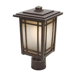 Port Oxford 1-Light Oil-Rubbed Chestnut Outdoor Post Mount Lantern