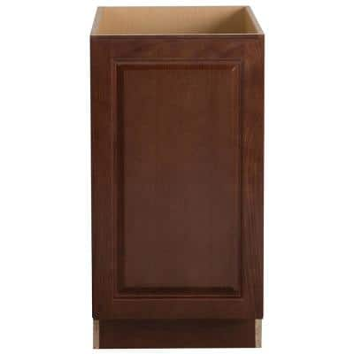 Benton Assembled 18x34.5x24.5 in. Base Cabinet with Pull Out Trash Can in Amber