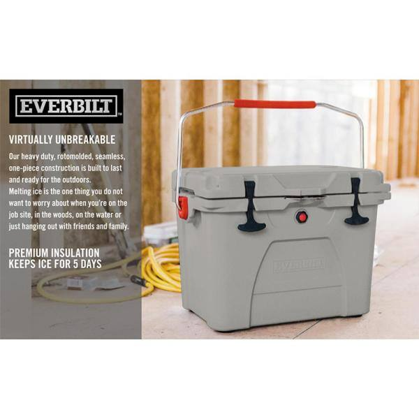 Everbilt Cooler Lockable Lid High Performance Rotomolded Durable Gray 20 Qt