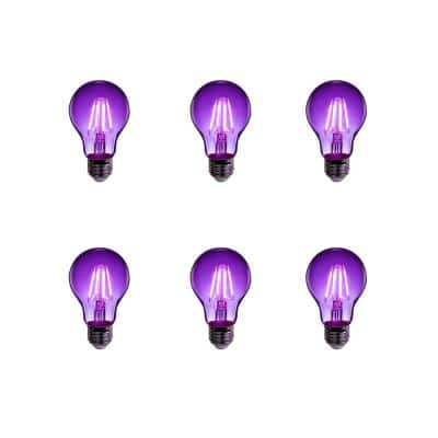 25-Watt Equivalent A19 Medium E26 Base Dimmable Filament Purple Colored LED Clear Glass Light Bulb (6-Pack)