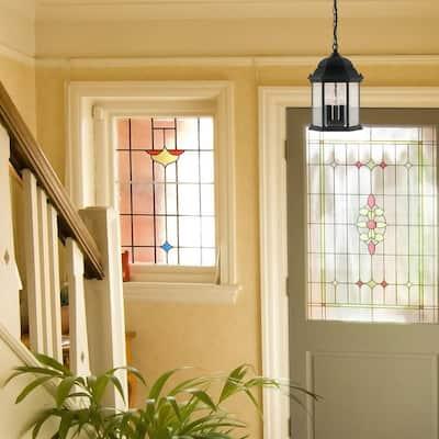 Erving Collection 3-Light Black Outdoor Hanging Foyer Light