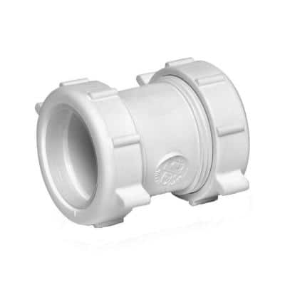 1-1/2 in. White Plastic Double Slip-Joint Sink Drain Pipe Connector