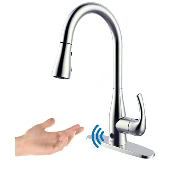 Flow Motion Activated Single Handle Pull Down Sprayer Kitchen Faucet In Chrome Ub7000cp The Home Depot