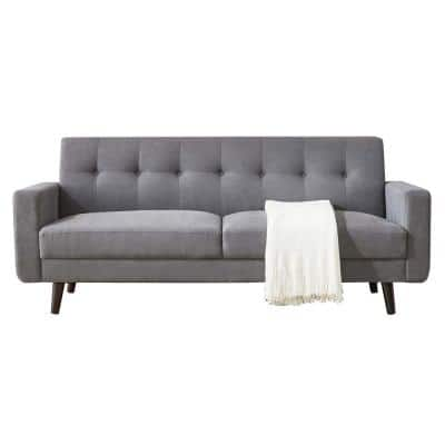 79 in. W Mid-Century Gray Fabric 2 Seats Modern Sofa