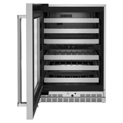 24 in. Dual Zone 46-Bottle Built-In Undercounter Wine Cooler in Stainless Steel