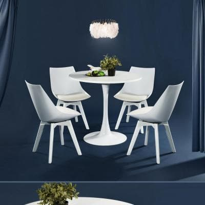 Modern 31.5 in. Full White Round Wood Top Dining Table with Pedestal Base