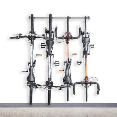 Gray 4-Bike Wall Mounted Garage Bike Rack