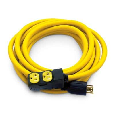 25 ft. NEMA L14-30P to 4x 5-20R Generator Cord in Yellow