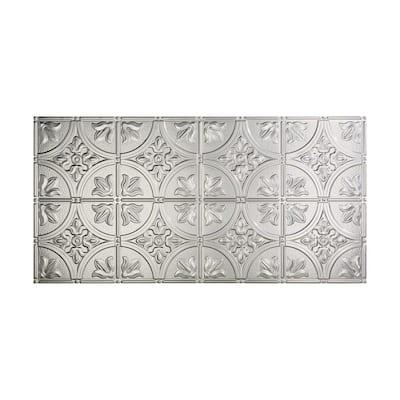 Traditional #2 2 ft. x 4 ft. Glue Up Vinyl Ceiling Tile in Brushed Aluminum (40 sq. ft.)