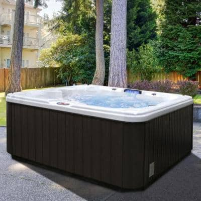 7-Person 30-Jet Premium Acrylic Bench Sterling Silver Spa Hot Tub with Backlit LED Waterfall