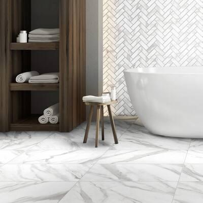 Avante Bianco 12 in. x 15 in. x 9 mm Porcelain Herringbone Mosaic Tile (5.65 sq. ft. / case)