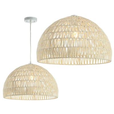 Campana 20 in. Woven Rattan Dome LED Pendant, Cream