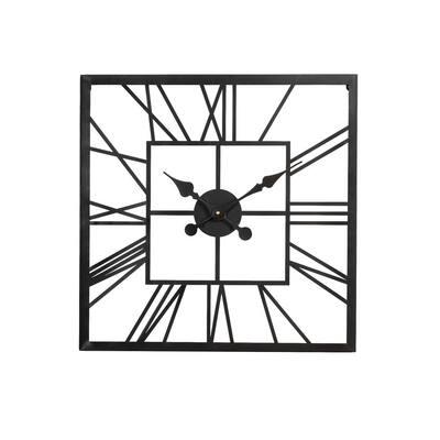 23.00 in. L Black Metal Square Wall Clock