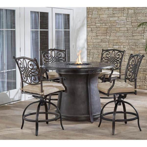 Hanover Traditions 5 Piece Aluminum Bar Height Round Outdoor Fire Pit Dining Set With Tan Cushions Trad5pcfprd Br The Home Depot