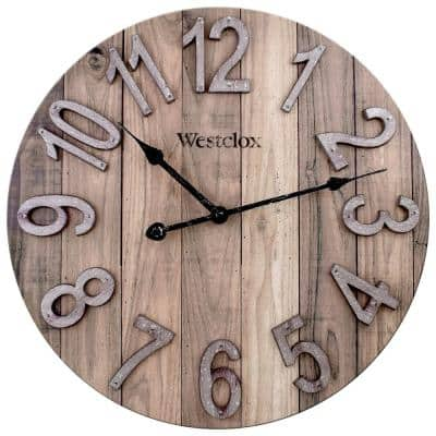 """38070- 15.5"""" MDF Brown Farmhouse Wall Clock with Raised Numbers"""