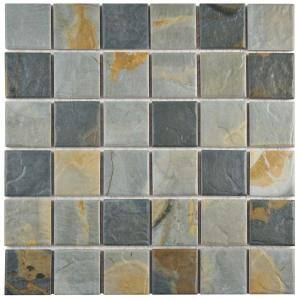 Ardesia Slate 12 in. x 12 in. Porcelain Mosaic Tile (9.59 sq. ft. / Case)