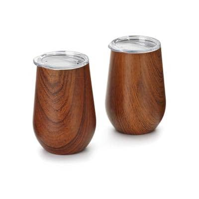12 oz. Wood Grain Pattern Stainless Steel Double Wall Wine Glass Tumbler with Lid (Set of 2)