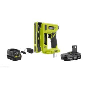 ONE+ 18V Cordless Compression Drive 3/8 in. Crown Stapler with 1.3 Ah Battery, Charger, and Sample Staples