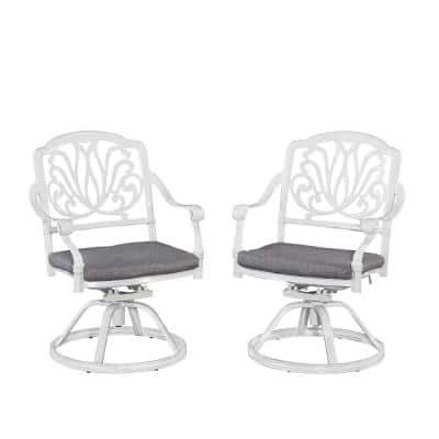 Capri White Swivel Cast Aluminium Outdoor Chair with Gray Cushions