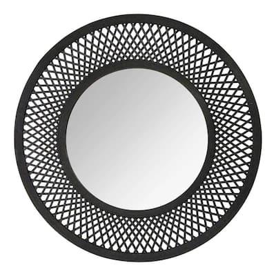 Victoria 38 in. x 38 in. Classic Round Framed Black Vanity Mirror