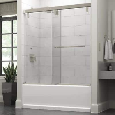 Simplicity 60 x 59-1/4 in. Frameless Mod Soft-Close Sliding Bathtub Door in Nickel with 3/8 in. (10mm) Clear Glass