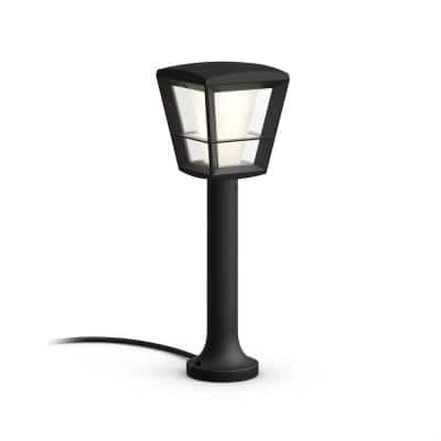 White and Color Ambiance Low Voltage Black Outdoor Pathway LED Econic Smart Light Base Kit