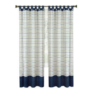 Tattersall 52 in. W x 84 in. L Polyester Light Filtering Window Panel in Navy