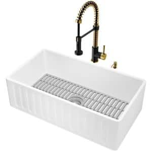 Matte Stone White Composite 33 in. Single Bowl Slotted Farmhouse Kitchen Sink with Faucet in Gold/Black and Accessories