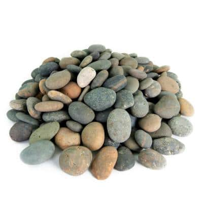 .25 cu. ft. 1 in. to 2 in. Mixed Mexican Beach Pebbles Smooth Round Rock for Gardens, Landscapes and Ponds
