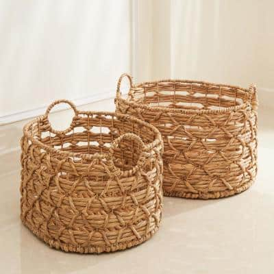 Camila Stackable Oval Hand-Woven Water Hyacinth Storage & Laundry Decorative Basket Set
