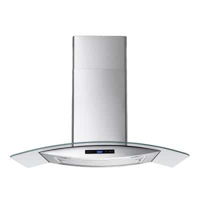 36 In. 520 CFM Convertible Stainless Steel/Glass Wall Mount Range Hood with Mesh Filter and Touch Sensor Control