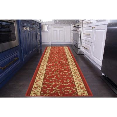 """Veronica Cut to Size Red Color 26"""" Width x Your Choice Length Custom Size Slip Resistant Runner Rug"""