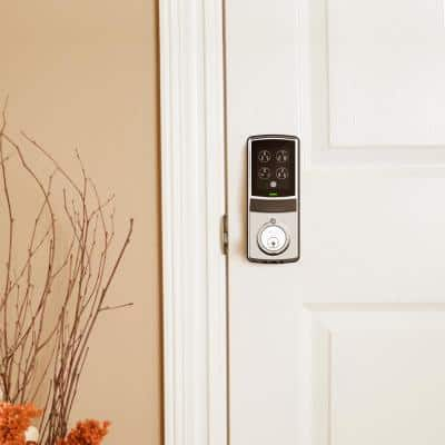 Model-S Satin Nickel Single-Cylinder Smart Deadbolt Lock with Keypad, Bluetooth and Discrete PIN Code Input