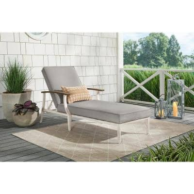 Marina Point White Steel Outdoor Patio Chaise Lounge with CushionGuard Stone Gray Cushions