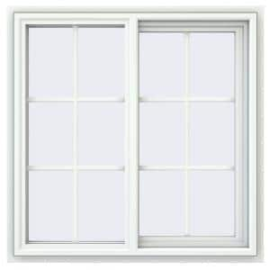35.5 in. x 35.5 in. V-4500 Series White Vinyl Right-Handed Sliding Window with Colonial Grids/Grilles