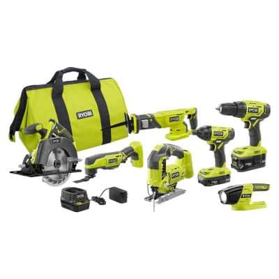 ONE+ 18V Cordless 6-Tool Combo Kit with (2) Batteries, Charger, Bag with Orbital Jig Saw