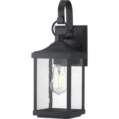 Park Court 1-Light 15 in. Textured Black Outdoor Wall Lantern with Clear Seeded Glass