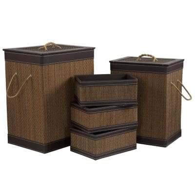 13.2 in x 22.22 Bamboo Laundry and Bath Set (5-Piece)