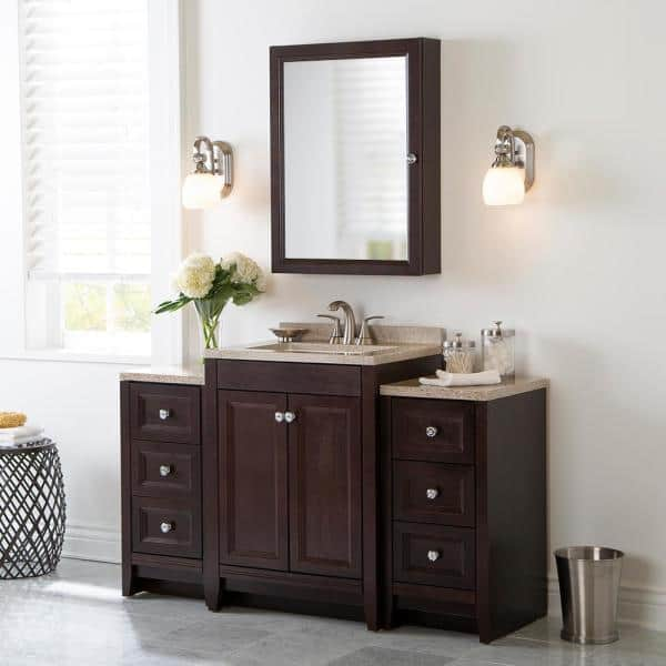 Glacier Bay Delridge Bath Suite With 24 In W Bathroom Vanity Vanity Top And 2 Linen Towers In Chocolate Dm52p3v1 Ch The Home Depot