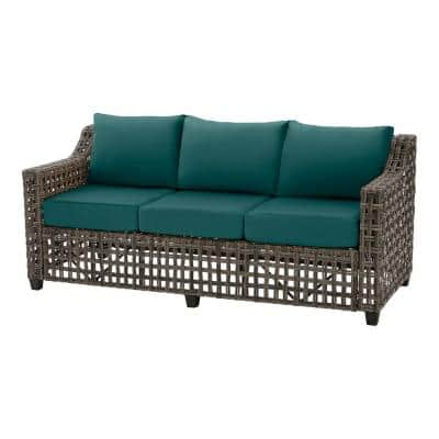 Briar Ridge Brown Wicker Outdoor Patio Sofa with CushionGuard Malachite Green Cushions
