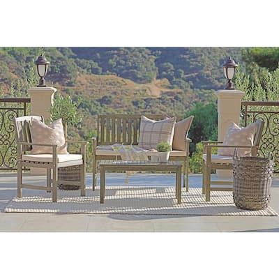 Jonah 4-Piece Wood Outdoor Patio Conversation Set with Beige Cushion