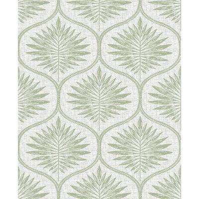 Green Primitive Leaves Peel and Stick Wallpaper 8-in. x 10-in. Sample Green Wallpaper Sample