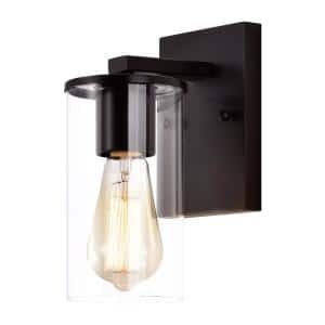 1-Light Oil-Rubbed Bronze Wall Sconce with Clear Glass Shade