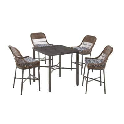Beacon Park 5-Piece Brown Wicker Outdoor Patio High Dining Set with CushionGuard Midnight Trellis Navy Blue Cushion