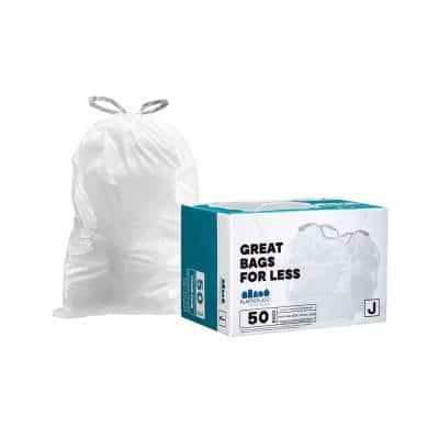 """10-10.5 Gallon / 38-40 Liter White Drawstring Garbage Liners simplehuman* Code J Compatible 21"""" x 28"""" (50 Count)"""