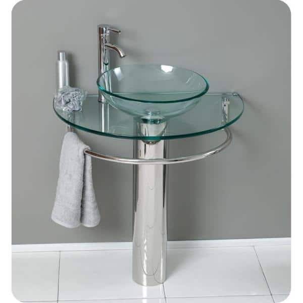 Fresca Attrazione Vessel Sink In Frosted Glass With Stand Chrome And Edge Mirror Fvn1060 The Home Depot