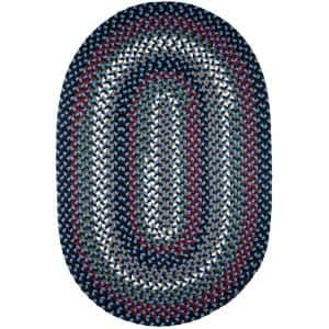 Country Medley Navy Blue Multi 5 ft. x 8 ft. Oval Indoor/Outdoor Braided Area Rug