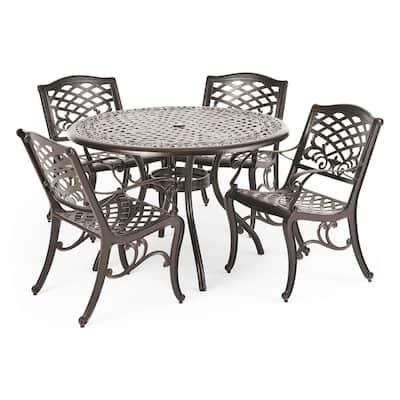 Sarasota Bronze Finish 5-Piece Cast Aluminum Circular Outdoor Dining Set