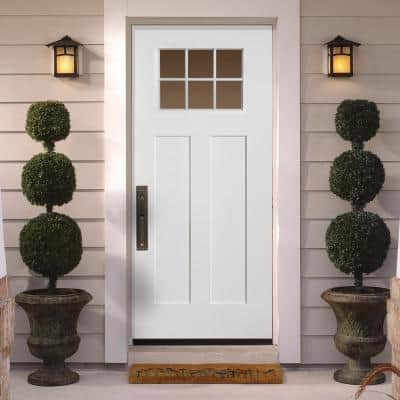 36 in. x 80 in. Craftsman 6 Lite Right-Hand Inswing Primed White Smooth Fiberglass Prehung Front Door w/ Brickmold